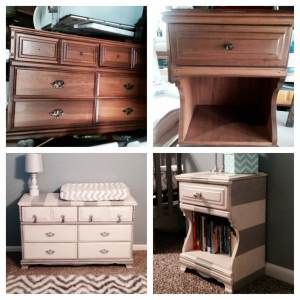 Gray striped dresser